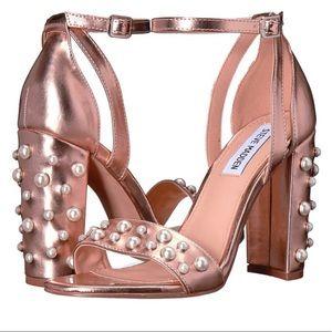 c9cebf87347 Steve Madden Shoes - Steve Madden Madiera Pearl Rose Gold Block Heels